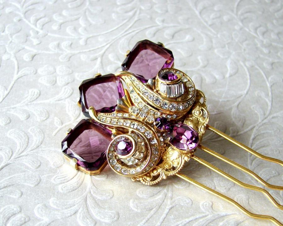 Свадьба - Abstract Thistle Hair Comb Purple Wedding Hairpiece Gold Bridal Headpiece Vintage Amethyst Rhinestone Jewelry Bohemian Chic Art Deco Bride