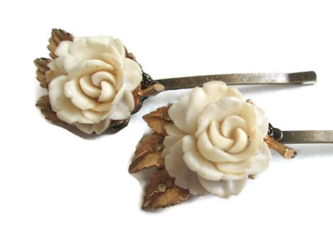 Wedding - Wedding Jewelry Cream Flower Hairpins Bridal Hair Accessories BSK Vintage Inspired Hairpiece