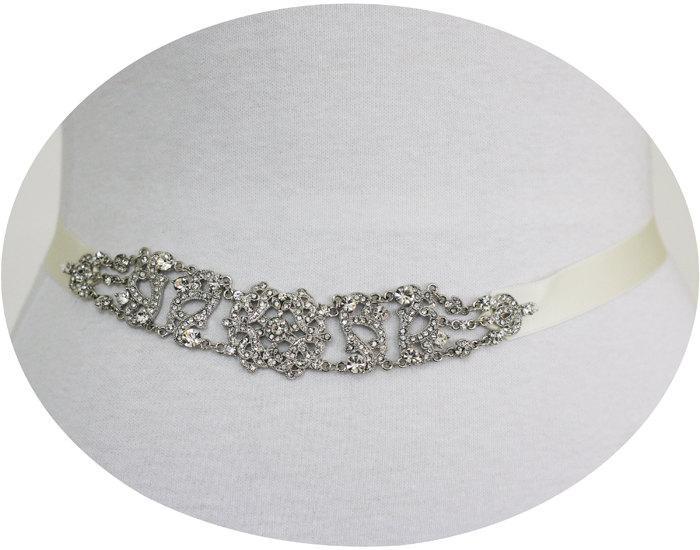 زفاف - TRISHA - Vintage Inspired Crystal Bridal Sash, Rhinestone Wedding Belt, Bridal Beaded Belt, Victorian Sashes