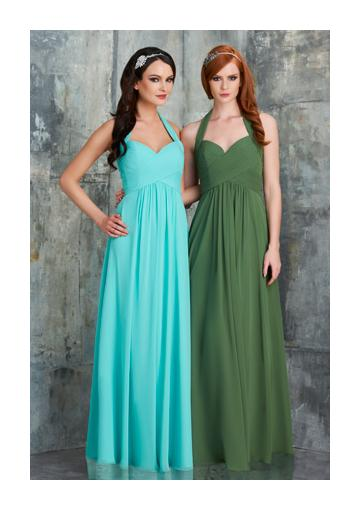 Düğün - Zipper Up Halter Chiffon Sleeveless Blue Floor Length Bridesmaid
