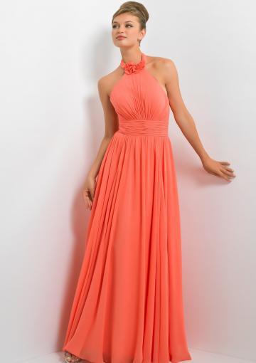 Свадьба - Floor Length Halter Chiffon Sleeveless Orange Bridesmaid