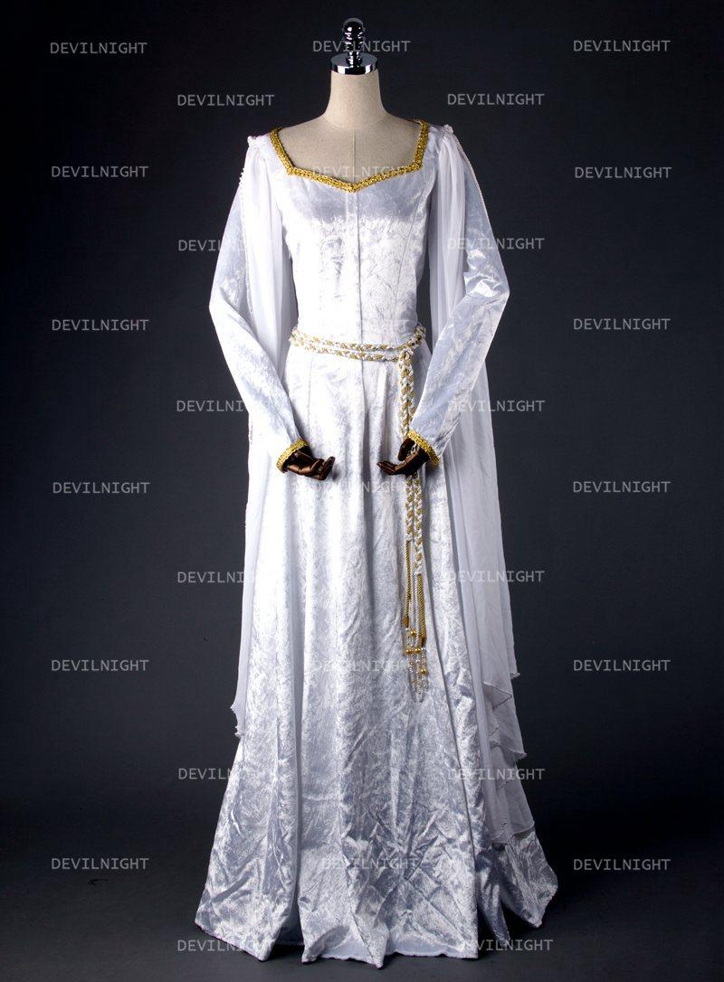 زفاف - White Elegant Vintage Medieval Dress