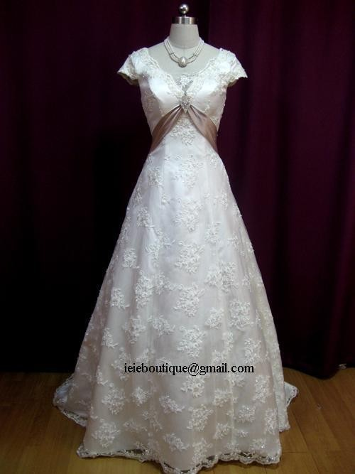 Cm1029 lace overlay a line wedding dress with empire waist for Lace wedding dress overlay