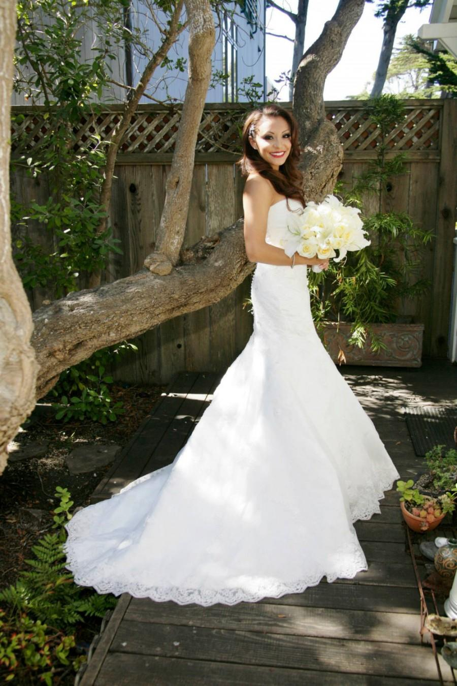Strapless Lace Mermaid Wedding Dress Sweetheart Mermaid Wedding ...