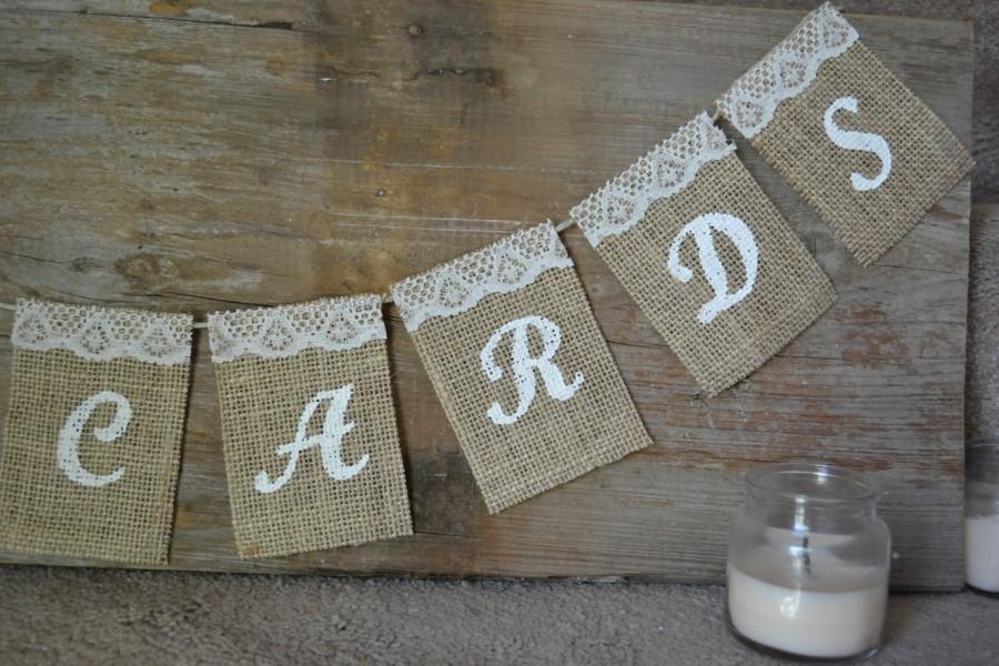 Свадьба - Customizable Small Burlap Card Sign, Small Wedding Cards Sign