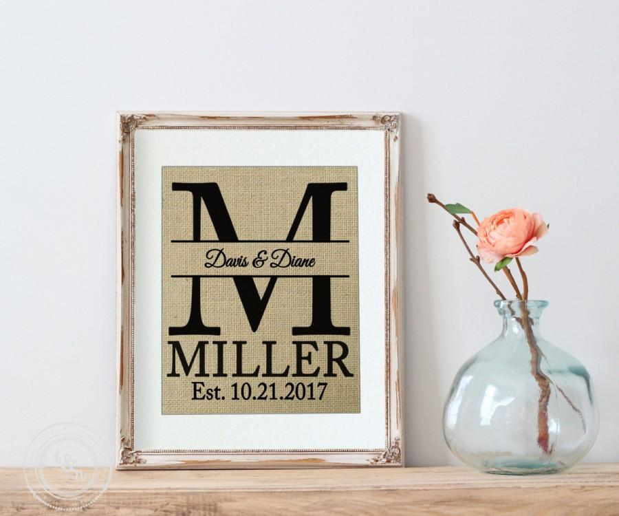 Personalized Wedding Gift, BURLAP Personalized WEDDING Gift MONOGRAM Wall  Art   Family Name Sign With Monogram U0026 Established Date