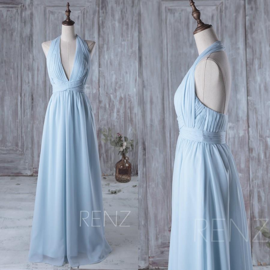 2016 light blue bridesmaid dress long v neck halter