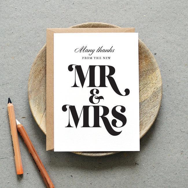 Printable Wedding Thank You Card PDF Bold Strokes Mr And Mrs – Printable Wedding Thank You Cards