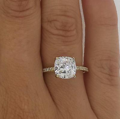 Hochzeit - 2.5 Ct Vs2/f Cushion Cut Diamond Engagement Ring 14k Yellow Gold Enhanced