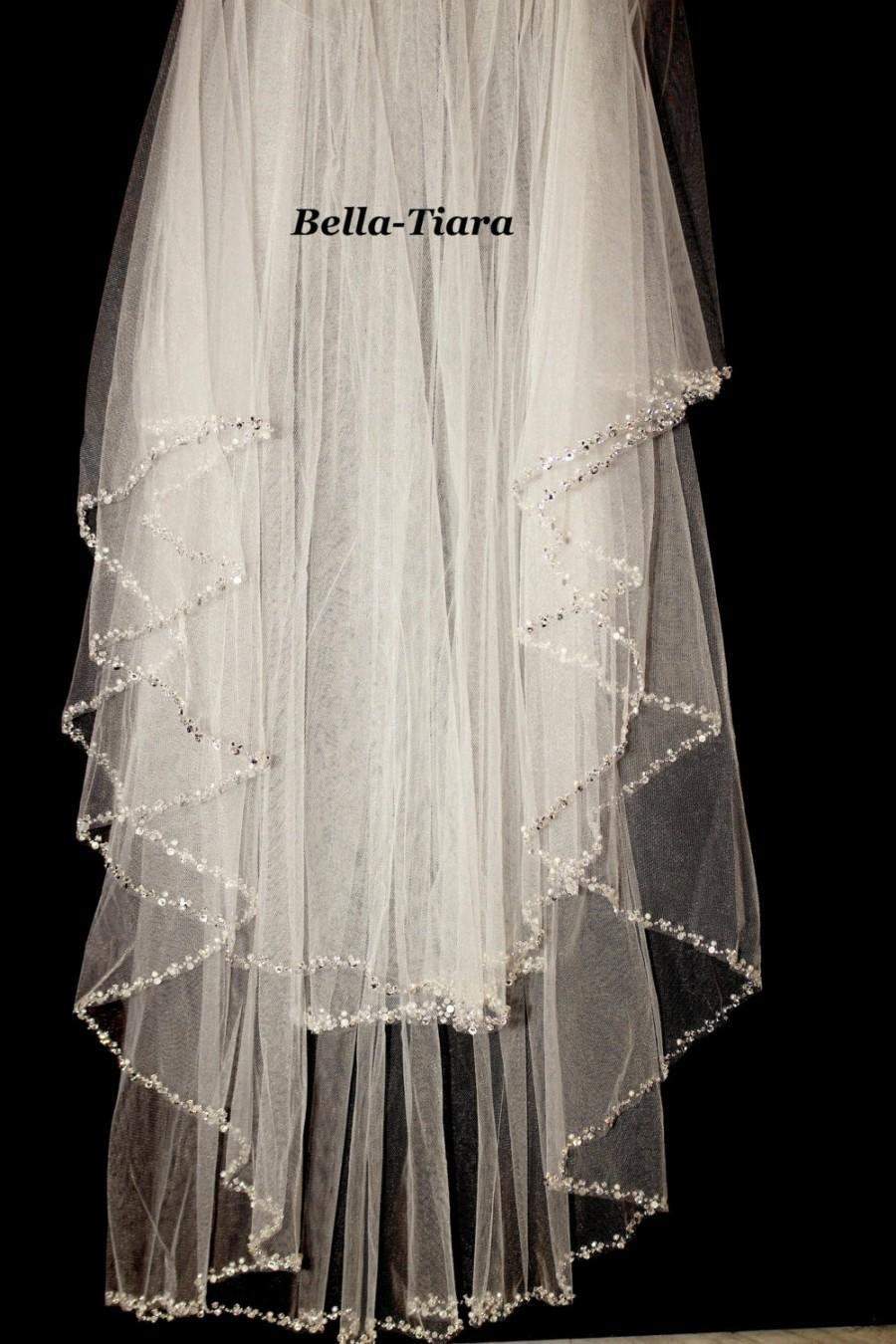 Crystal Beaded Edge Wedding Veil Two Tier Pearl 2 Bridal Veils Ivory