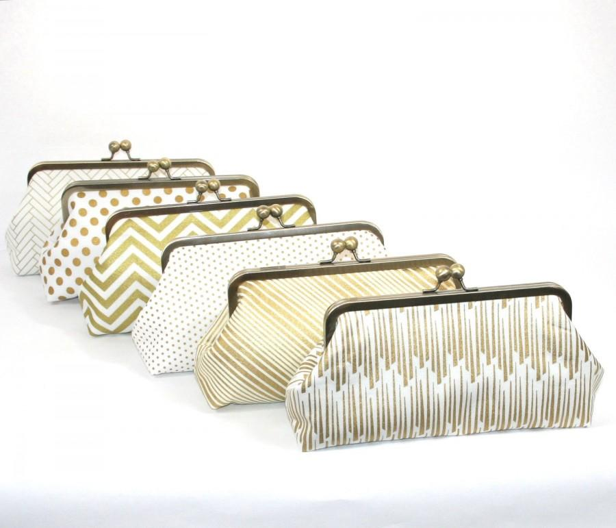 Mariage - Gold Bridesmaid Clutches Personalized Clutches Gatsby Wedding - Choose Your Fabrics Metallic Gold  Black White Set of 6