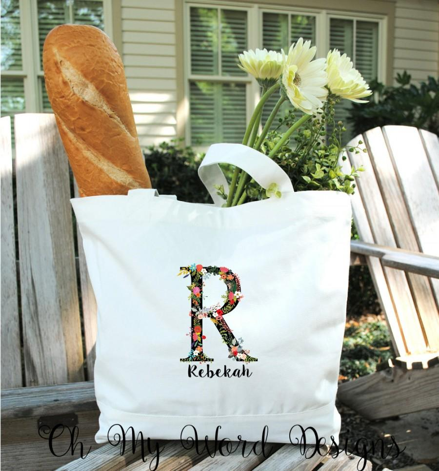 Hochzeit - Flower Initial Cotton Canvas Tote Bag-Bridesmaid Gifts-Wedding Party Favors-Wedding Gifts-Monogram Tote Bag