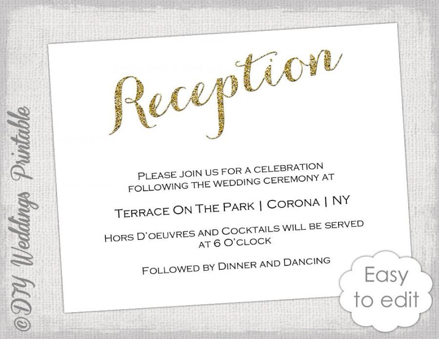 Wedding Reception Invitation Template DIY Gold Glitter Printable – Wedding Information Card Template