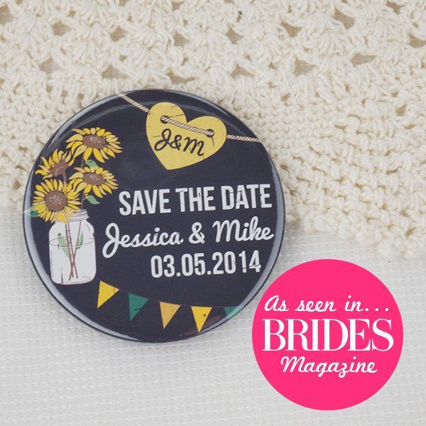 زفاف - Wedding Save The Date Magnets Rustic Chalkboard Sunflower Design Complete With Organza Bags 59mm x 40 (As seen in Brides Magazine!)