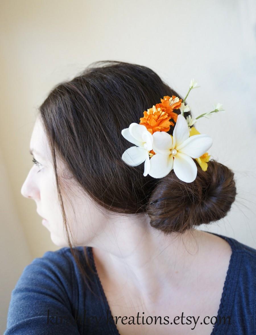 Tropical Plumeria Flower Hair Clip White Orange Yellow Pearls