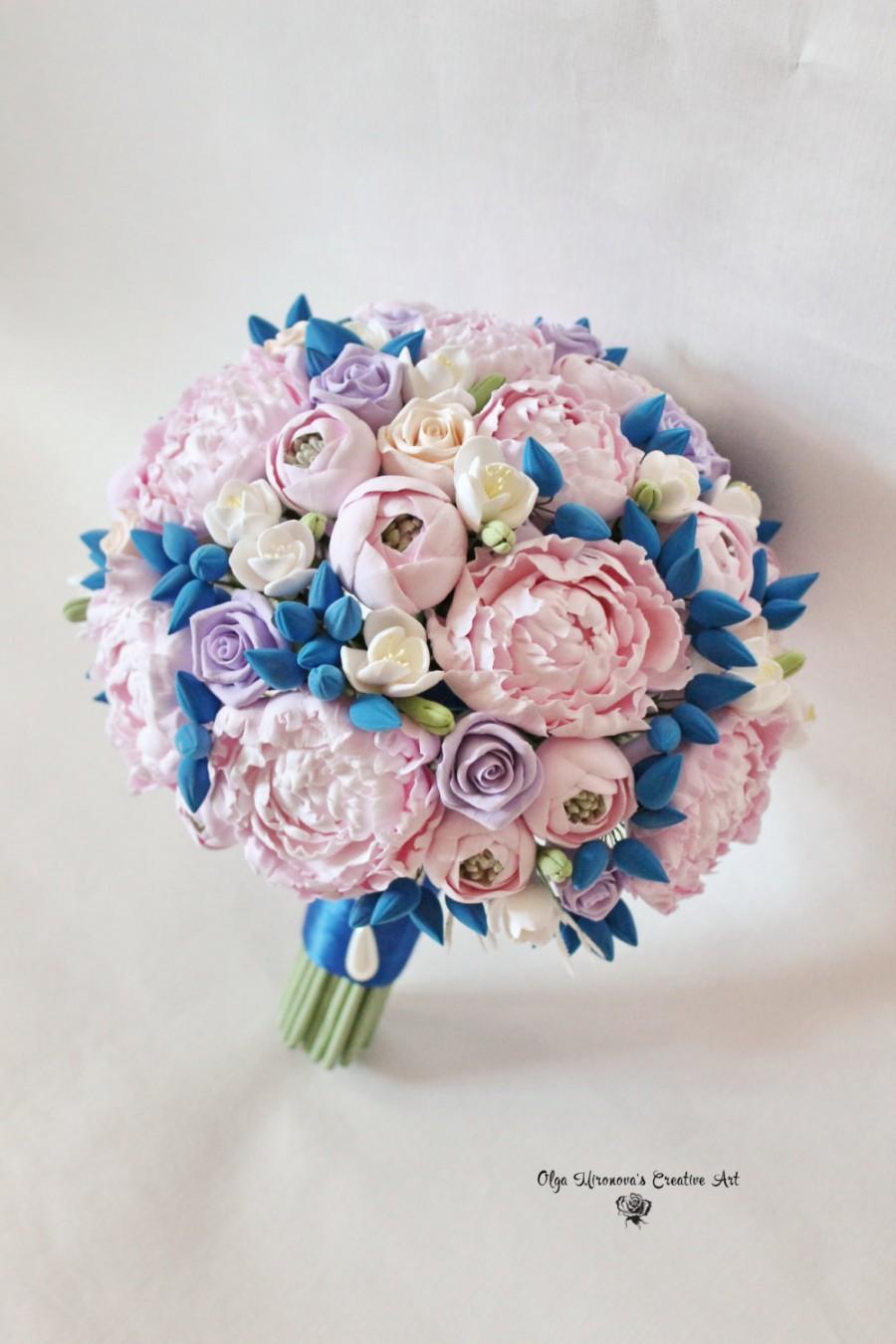 Wedding bouquet bridal peony bouquet pink blue bouquet keepsake wedding bouquet bridal peony bouquet pink blue bouquet keepsake alternative bouquet gorgeous wedding flowers izmirmasajfo