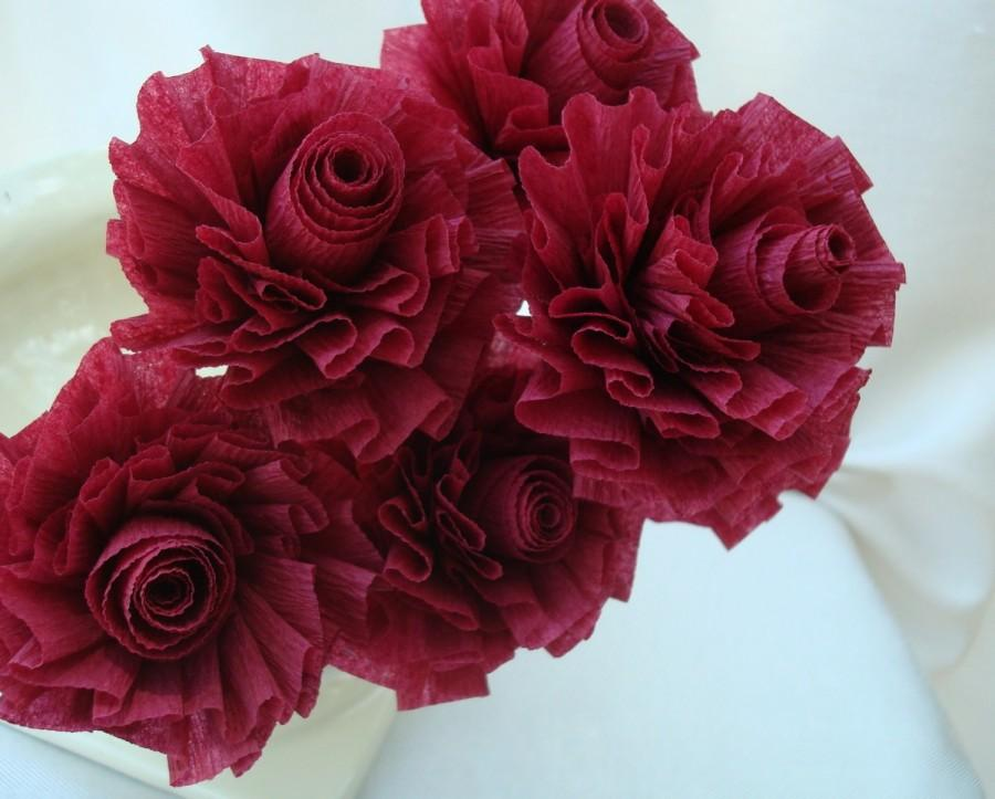 Mariage - Wedding Crepe Paper Roses...Cranberry Burgundy Wine...7 ART DECO STYLIZED FLOWERS
