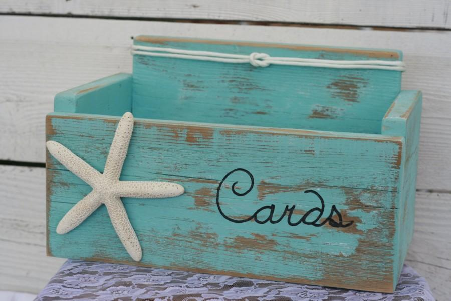 Mariage - Card Wedding Box Holder Distressed Beach Nautical Rustic Starfish with Nautical Knot Baby Shower, Anniversary Many colors to choose from