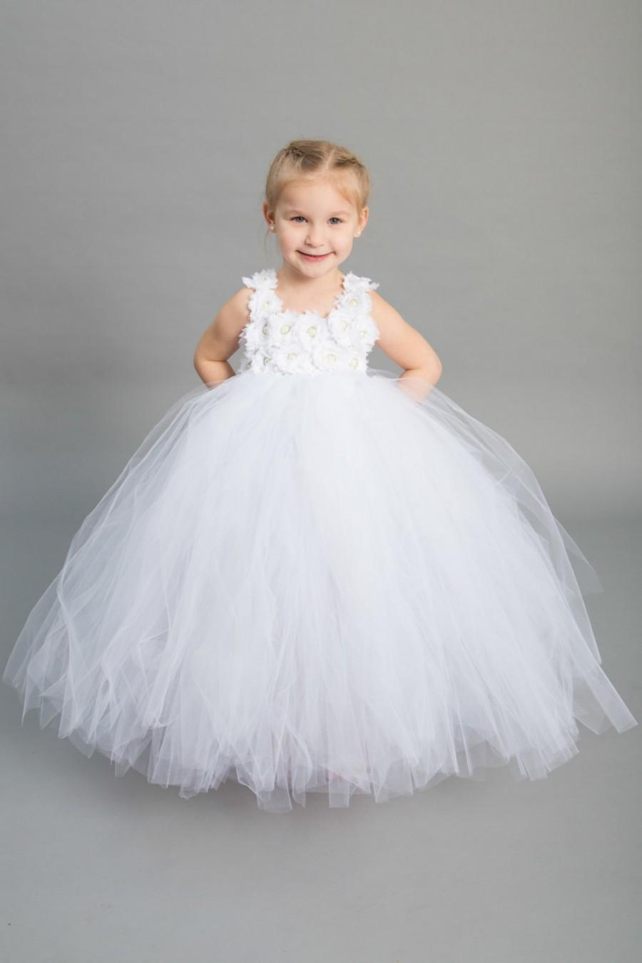 19c5d56a659 Flower girl dress - Tulle flower girl dress - White Dress - Tulle dress- Infant Toddler - Pageant dress - Princess dress - White flower dress