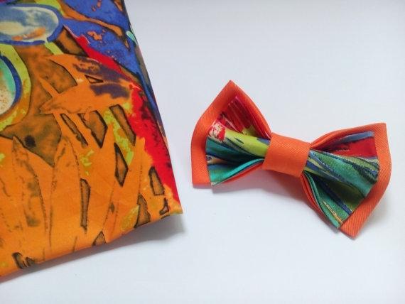 Wedding - Floral Bow tie Orange Designed by Accessories482 Wedding Bowties Bowtie for man Birthday Gift Tie for Men Necktie for Groom Groomsmen Ties