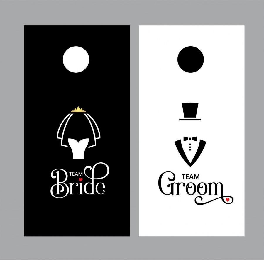 Mariage - Cornhole Decals for Wedding - Bride Groom decal for cornhole game boards - Cornhole wedding game decal - tuxedo and wedding veil decal - new