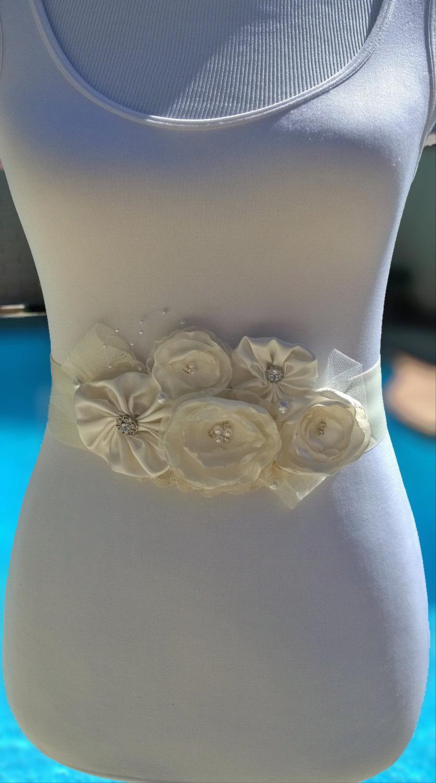 Wedding - Vintage Ivory Wedding Sash- Ivory Bridal Sash-  Bridal Flower Sash- Ivory Organza Bridal Sash