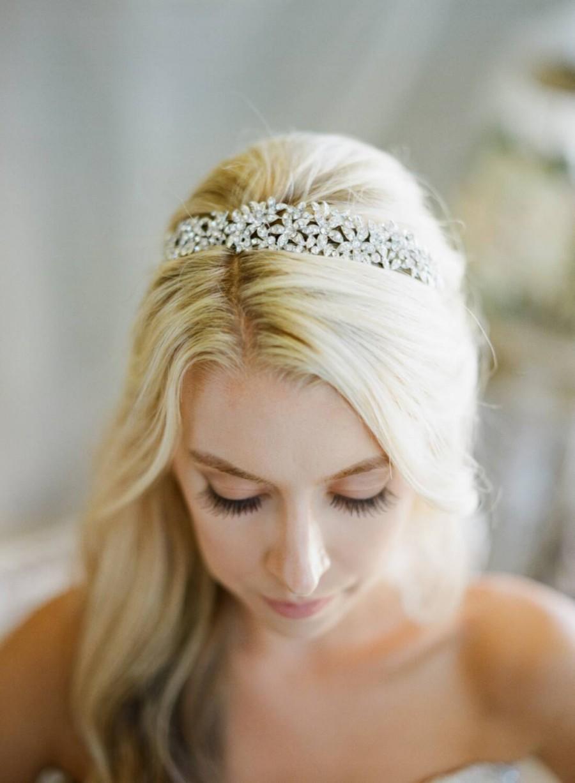 زفاف - Wide Crystal Floral Bridal Headband, LINA Floral Diamante Wedding Tiara, Swarovski Crystal Luxury Couture Bridal Hair Accessory