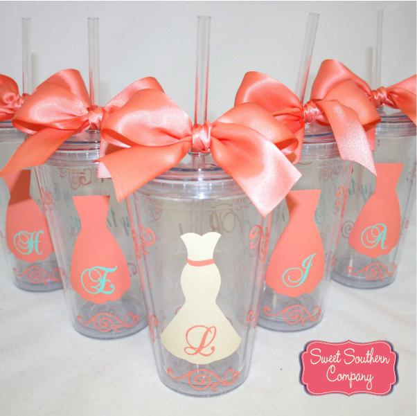 Mariage - 8 Personalized Bride and Bridesmaids Acrylic Tumblers