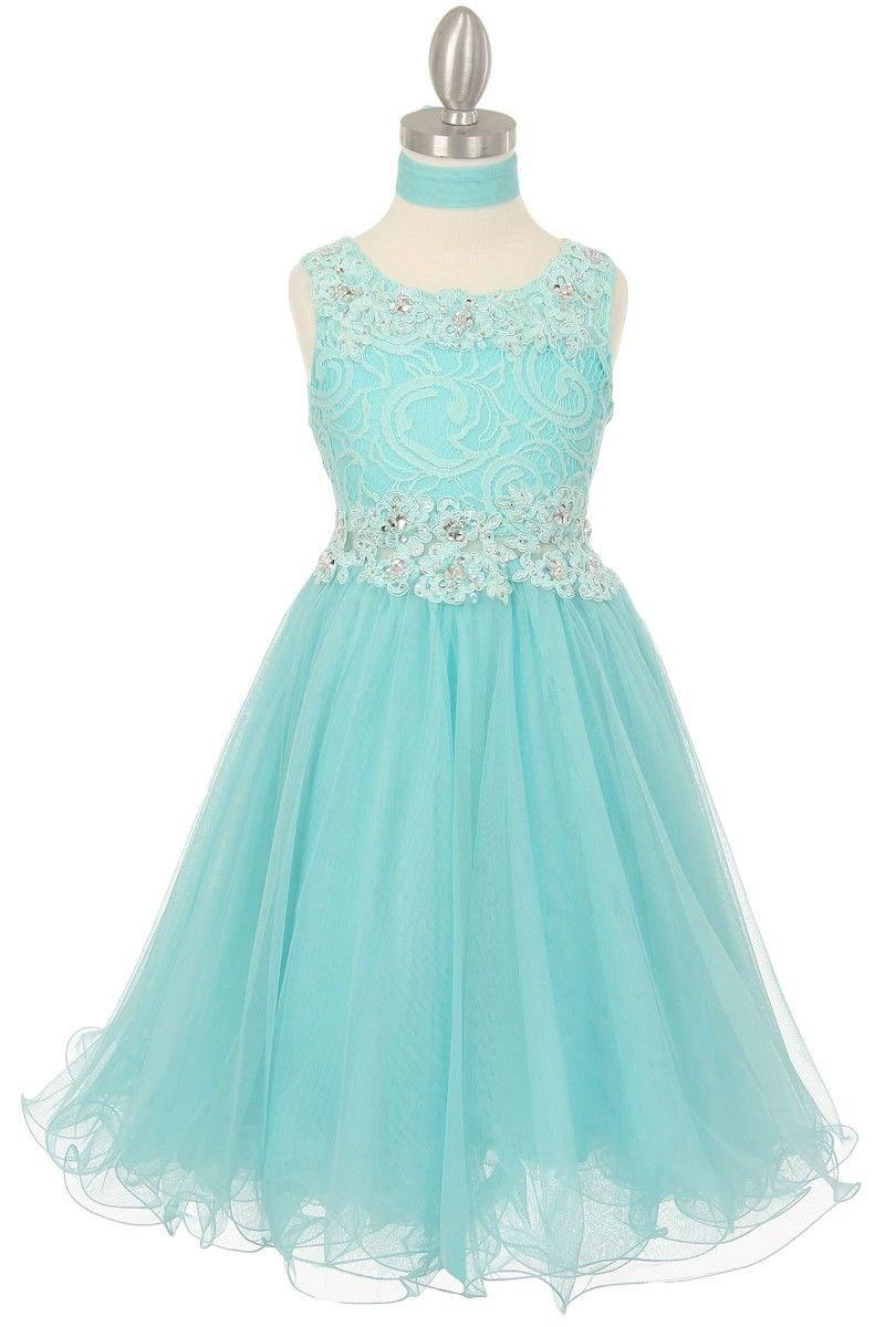 Flower Dress Aqua Blue Lace Embellished With Sequins And Sparkles Junior Bridesmaid