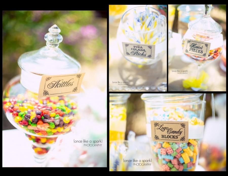 Wedding - Set of 10- Candy Buffet / Candy Bar / Food Labels / Tags Wedding Signs - I print the names on labels for you