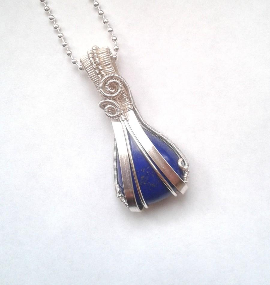Wire Wrapped Lapis Lazuri Stone Necklace, Unique Wire Wrapped ...