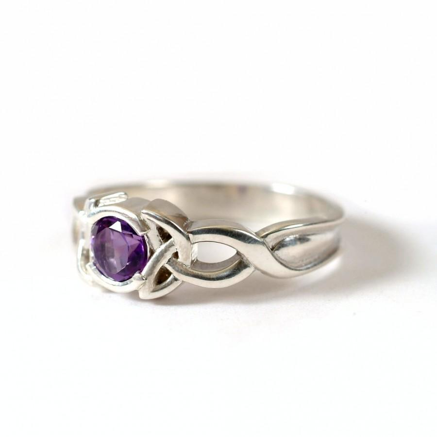 Mariage - Celtic Amethyst Ring With Trinity Knot Design in 10K Gold, Made in Your Size CR-405b