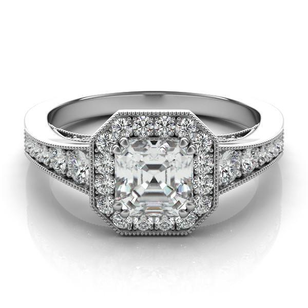 asscher cut forever one moissanite diamond halo ring moissanite engagement rings asscher moissanite wedding rings for her - Wedding Rings For Her