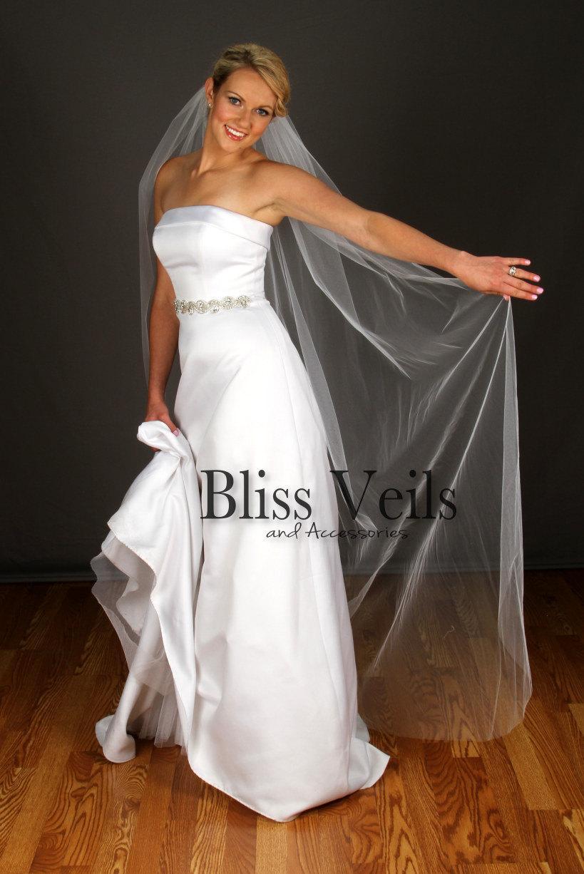Mariage - Long Veil, Plain Edge Wedding Veil, Floor Length Veil, 1 Layer Bridal Veil