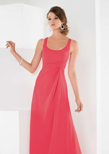 Mariage - Zipper Straps Sleeveless Watermelon Chiffon Ruched Floor Length Bridesmaid