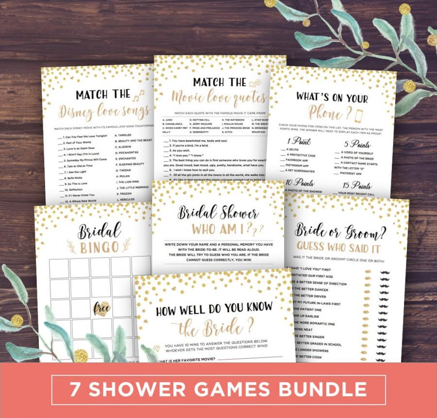 Hochzeit - Bridal Shower Games Printable, Instant Download Wedding Shower Games Package, Bingo, Movie Quotes Match, Gold Glitter, Whats on your phone