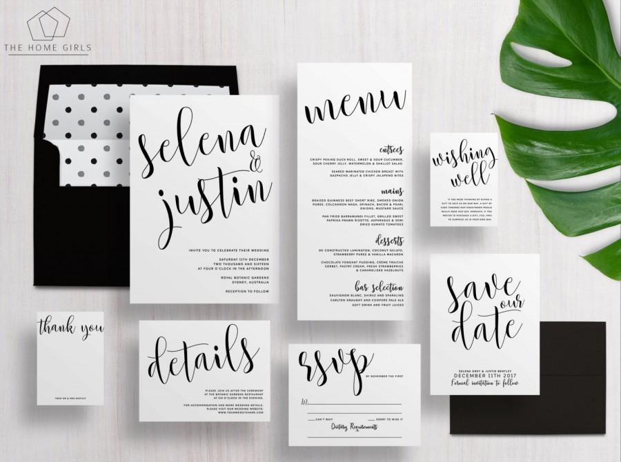 Printable Wedding Invitation Suite Calligraphy Black And White Set Save The Date Custom Selena