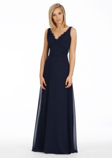Wedding - V-neck V-back Sleeveless Navy Ruched Chiffon Floor Length