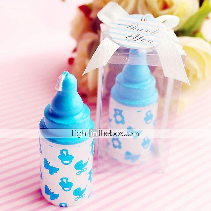 Mariage - Beter Gifts® Recipient Gifts - Blue baby bottle candle favors, Gender Reveal Party Souvenirs