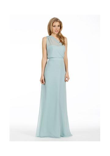 Свадьба - One Shoulder Sleeveless Ruched Light Green Chiffon Floor Length