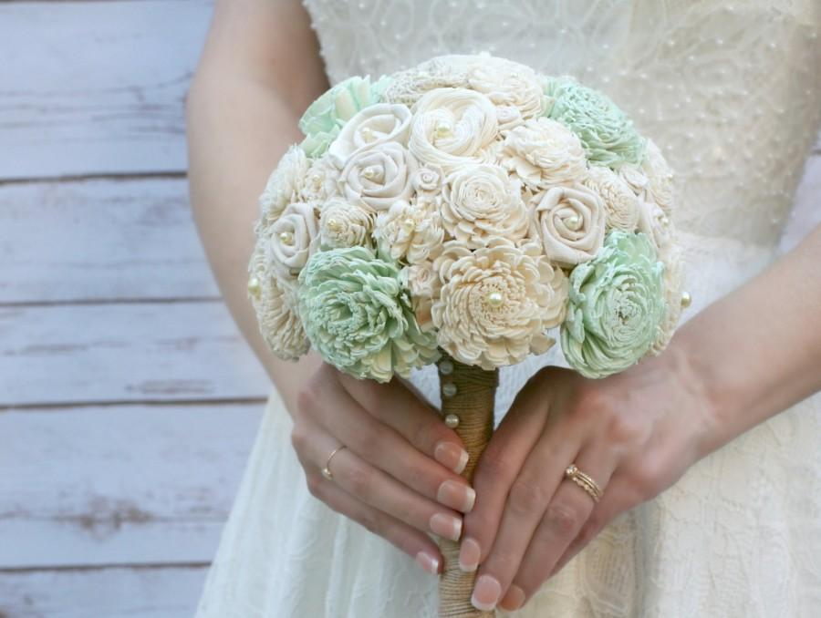 Mint Wedding Bouquet // Mint, Mint Green, Sola Wood, Flower Bouquet ...