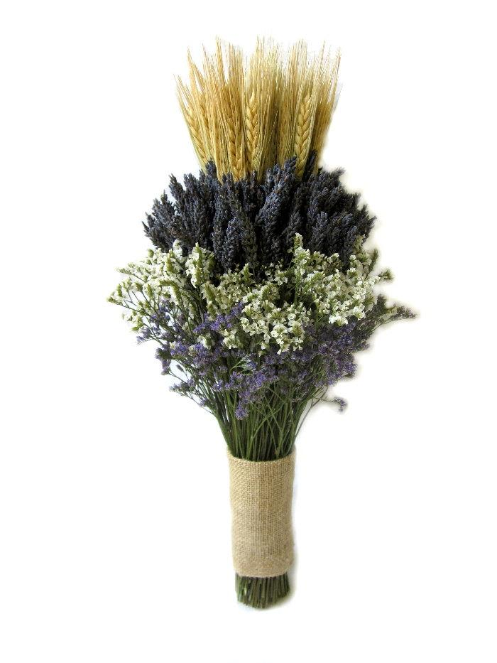Hochzeit - Organically Dried Lavender  with Wheat Wedding Bouquet - Bridal bouquet -Bridesmaid bouquet  MADE TO ORDER!