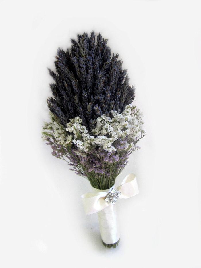 Mariage - Organic Dried Gross Blue Lavender  Wedding  Chic bouquet with vintage Broach - Bridal bouquet - Bridesmaid bouquet MADE TO ORDER
