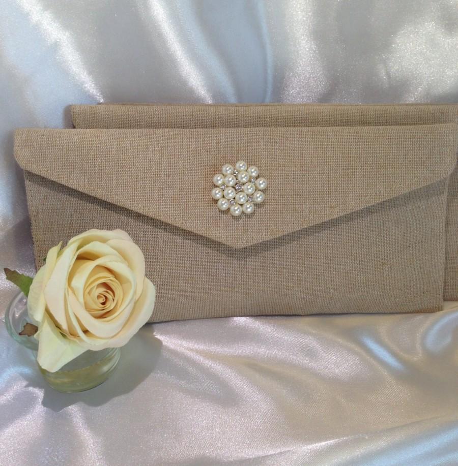 Mariage - Bridesmaid Clutch, Wedding party, Wedding, Envelope clutch, Bridesmaid bag, Burlap bags, Bridesmaid gift, Bridal clutch, Rustic wedding