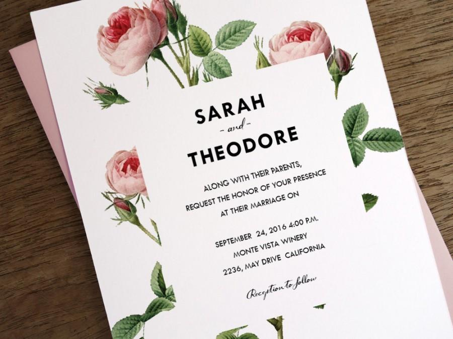 printable wedding invitations vintage pink roses instant