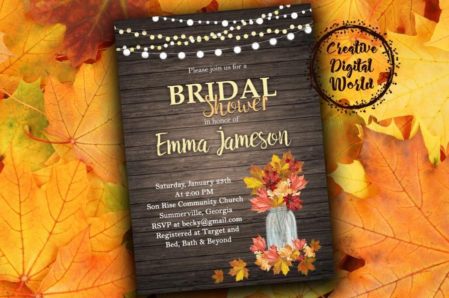 autumn leaves rustic bridal shower invitation printable string lights wood fall mason jar orange yellow red digital invite autumn wedding