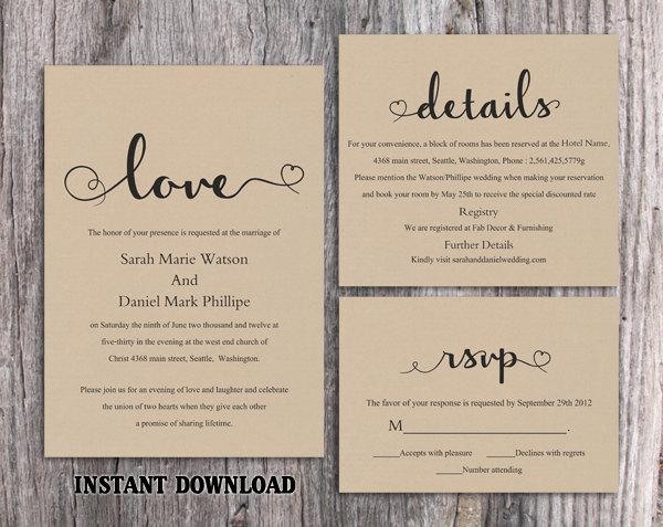 Diy Burlap Wedding Invitation Template Set Editable Word File