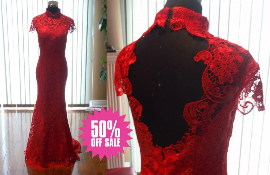 زفاف - Red wedding dress, red lace cheongsam, red lace wedding cheongsam, red cheongsam