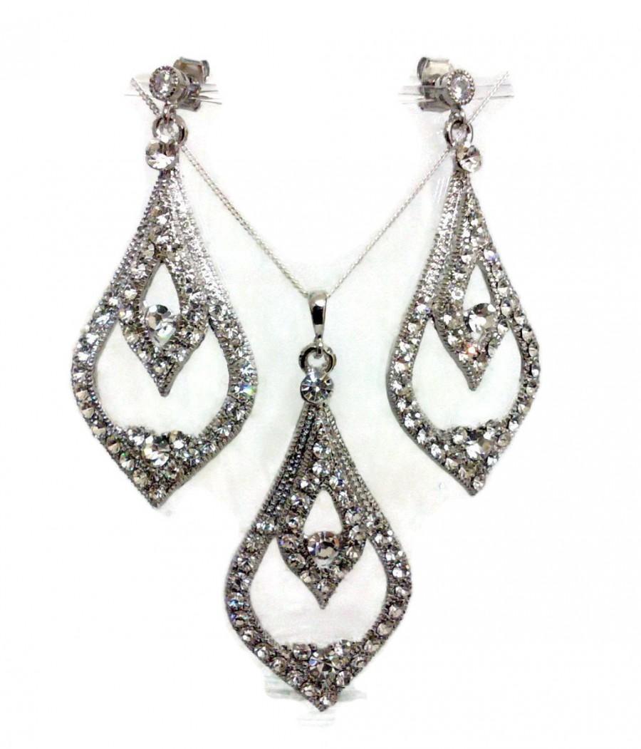 Bridal Jewelry Set Dangle Bridal Earrings Teardrop Necklace