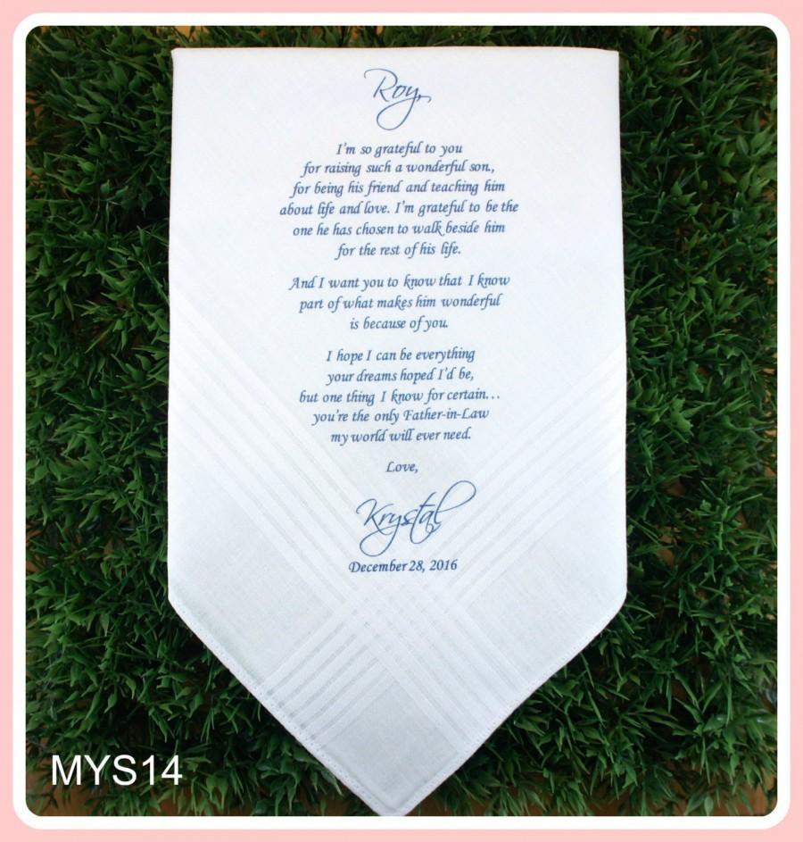 Father Of The Groom Hankerchief Wedding Handkerchief Print Customize
